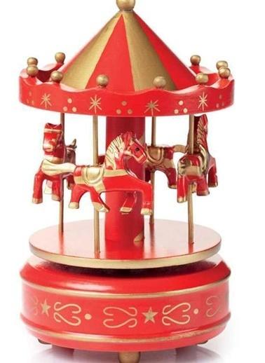 Nostaljik El Yapımı Atlıkarınca Müzik Kutusu Kırmızı Altın-Practika